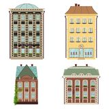 Set of 4 houses. Vector illustration isolated on Royalty Free Stock Image