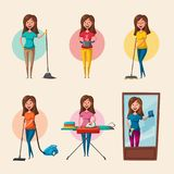 Set of housewife characters. Cleaning theme. Cartoon vector illustration Royalty Free Stock Images