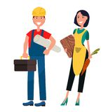 Set of Housewife and Constructor Graphic Design. Smiling housewife and constructor. Woman in apron holds carrot and cutting board. Builder with roll of paper and Stock Photo