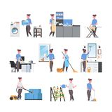Set housewife doing housework different housecleaning concepts collection female cartoon characters full length flat stock images
