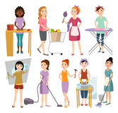 Set of housewifes homemaker woman vector illustration. Stock Photos
