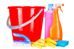 Set for housewives to clean the house. On a white background Stock Images