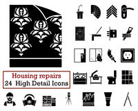 Set of 24 Housing repairs Icons. In Black Color.Vector illustration Stock Photos