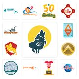 Set of howling wolf, med, best anniversary, painting company, offroad, spartan shield, knight on horse, ap, scorpions icons. Set Of 13 simple editable icons such Royalty Free Stock Image