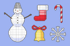 Set of Сhristmas stickers. Set of pixel Сhristmas stickers Stock Photo