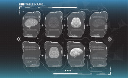 Set of HUD infographic panels with brain. Head-up display banners for the web and app. Futuristic user interface Royalty Free Stock Photo