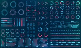 Set HUD Interface Elements - Lines, Circles, Pointers, Frames, Bar Download for Web Applications. Futuristic UI - Illustration Vector royalty free illustration