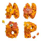 Set of huge animated autumn alphabet letters: M, N, O, P Stock Photography