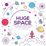 Set of huge space universe illustration. Space infographic. Space icon. Space thin lines background. Space label. Space Stock Images