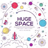 Set of huge universe infographic illustration. Outer space rocket flying up into the solar system with a lot of planets stock illustration