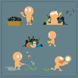 Set of human character , how to get idea royalty free illustration