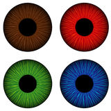 Set of human eyes iris. Bown, red, green and blue. Stock Image