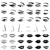 Set of human eyes, noses and lips Stock Images