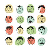 A set of human faces with emotions Royalty Free Stock Photo