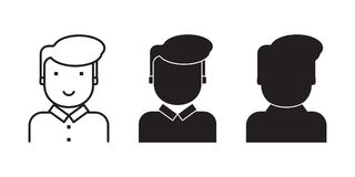 Set of Human faces for illustration for user, client, consumer. Carved silhouette flat icon, simple vector design vector illustration