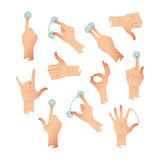Set of human hands applause tap helping action gestures. Vector illustration Stock Photo