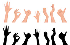 Set of human hands. Royalty Free Stock Images