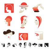 Set of 9 human head icons. Stock Image
