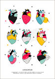 Set of human hearts in the Memphis style. A set of human hearts in the Memphis style. Illustration can be used for the cover of the book, to print T-shirts, a stock illustration