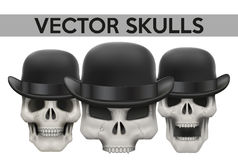 Set of Human skulls with bowler hat Royalty Free Stock Image