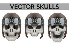 Set of Human skulls with retro aviator or biker Stock Photos