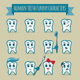 Set of human teeth funny characters Royalty Free Stock Photo