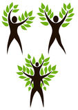 Set of human tree. Set of people Tree. Stylized tree with person in its basis. Illustration symbolizes the unity of Human and Nature, environmental protection Royalty Free Stock Photo
