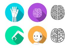 Set of humanoid robot icon in flat style royalty free illustration