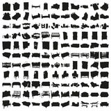 Set of Hundred Beds and Sofas Silhouettes. Stock Photos