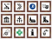 Set of Hungarian information road signs Stock Photos