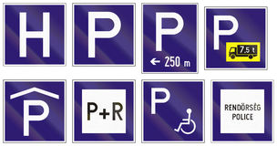 Set of Hungarian information road signs Royalty Free Stock Photo
