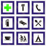 Set of Hungarian information road signs.  Stock Image