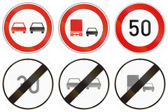 Set of Hungarian regulatory road signs Royalty Free Stock Photography