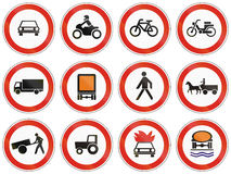 Set of Hungarian regulatory road signs.  Stock Images