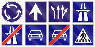 Set of Hungarian regulatory road signs Royalty Free Stock Photos