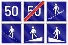 Set of Hungarian regulatory road signs Stock Image