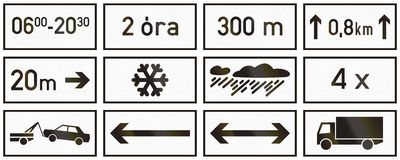 Set of Hungarian supplementary road signs Royalty Free Stock Image
