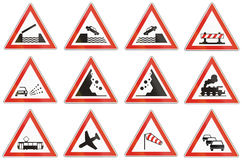 Set of Hungarian warning road signs Royalty Free Stock Photography