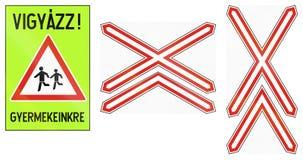 Set of Hungarian warning road signs Stock Photos