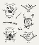 Set of hunt emblems, badges, labels Stock Photos