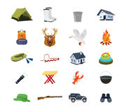 Set of hunter, fisherman objects, equipment, structures, equipment, clothing, accessories. Royalty Free Stock Images
