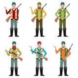 Set of Hunters. Vector image of the set of hunters Stock Photos