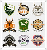 Set of hunting and adventure badge logo design. For emblem logo, label design, insignia, sticker Vector illustration resize able and all types use free font royalty free illustration
