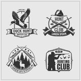 Set of hunting club labels, badges and design elements. Vector set of hunting club labels, badges and design elements Royalty Free Stock Photo