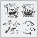 Set of Hunting Club labels. Pointer dog emblems, labels and design elements. Black and white illustration Stock Photo