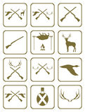 Set of Hunting club logo icon Royalty Free Stock Photos