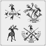 Set of hunting emblems, labels and design elements. Deers and ducks. Vector Stock Photos