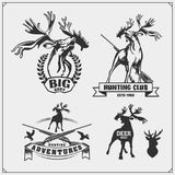 Set of hunting emblems, labels and design elements. Deers and ducks. Vector Royalty Free Stock Photo