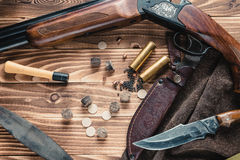 Set of  hunting equipment. On desk Royalty Free Stock Photo