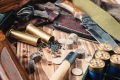 Set of  hunting equipment. On desk Stock Photos